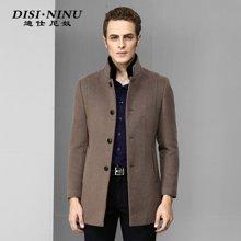 迪仕尼奴冬季新品男中长款毛呢时尚商务修身大衣青年外套8357C