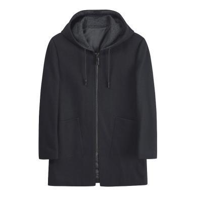 迪仕尼奴秋冬新品男士羊毛大衣連帽不可拆拉鏈加厚外套商務休閑8421C