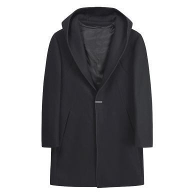 迪仕尼奴秋冬新品男士長款外套毛衣連帽不可拆純色單口毛呢大衣8420C