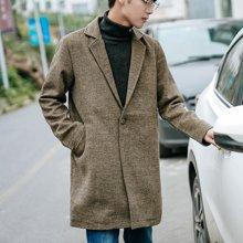 中长款呢大衣男秋冬潮流外套青年韩版修身学生呢子大衣英伦风衣男ZX-8811