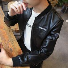 史克维斯新品男士皮衣 短款修身夹克外套 青年PU仿真皮机车皮夹克P01