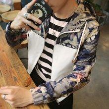 史克维斯青年夹克男士新款秋季休闲薄款外套韩版连帽印花衣服潮流男装J50