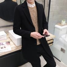 搭歌2018秋冬季风衣男韩版修身中长款毛呢大衣加厚外套男装d67