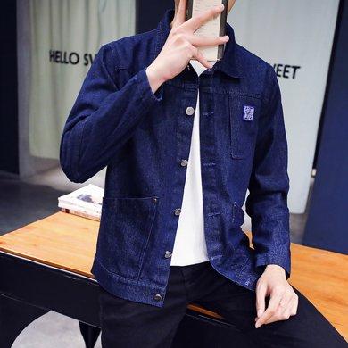 史克维斯男装 春季新款男士时尚修身牛仔夹克 青年潮流休闲外套短款J81JC