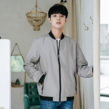 两面穿休闲夹克衫男士春秋季韩版圆领长袖上衣青年学生修身外套ZX-867