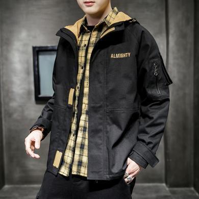 史克維斯休閑工裝外套男士春季新款刺繡青少年寬松連帽夾克上衣JKJ102JC