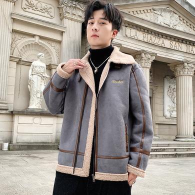 外套男士衬衫外套毛呢冬季羊羔毛外套男士加绒加厚棉衣韩版修身ins棉服潮牌夹克男棉袄外套ZX-975