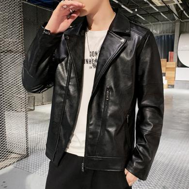 皮衣男士夾克風衣外套哈雷機車皮衣男士PU皮短款斜拉鏈皮夾克2019秋冬季修身韓版騎行服皮衣QZQ-819