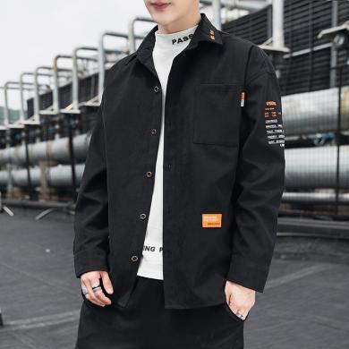 夾克男士長袖風衣保暖外套夾克男士外套秋季2019年新款韓版潮流ins薄款工裝印花上衣服男生夾克SL-9137