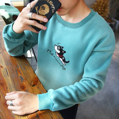 史克维斯秋季男士外套春秋学生圆领套头衫卫衣青少年潮流韩版休闲衣服Y25