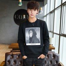 史克维斯秋季男士长袖t恤青年韩版圆领潮流卫衣男装上衣W68JC