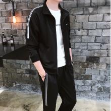 2019春季时尚运动套装潮韩版修身百搭两件套青年学生情侣休闲套装NX-9807
