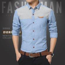 史克維斯牛仔襯衣春裝新款男裝色塊拼接長袖襯衫C5017