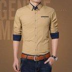 史克维斯男士衬衣 时尚休闲长袖衬衫 春装新款 男装C1306