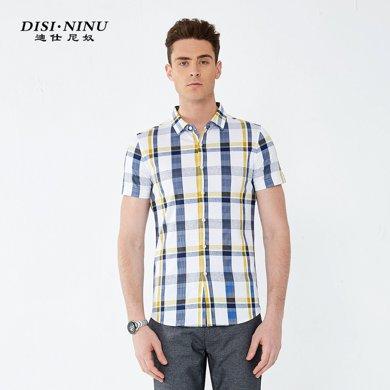 迪仕尼奴男士短袖衬衣夏季薄款中年纯棉双丝光宽松格子衫8741A
