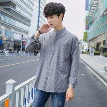 春秋男士衬衫7七分袖短袖潮流修身立领条纹长袖衬衣韩版休闲寸衫CS-S68