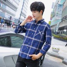 男新款韓版秋季青年學生時尚港風格子襯衫時尚潮流寬松休閑CS-S53