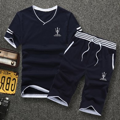 史克維斯男士短袖T恤套裝V領夏季運動休閑套裝跑步短袖t恤衛褲男韓版潮ST8812