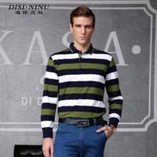 迪仕·尼奴秋季新品修身T恤 长袖条纹商务休闲男士T恤0060