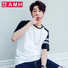 AMH韩版男装2018夏季青年潮流宽松时尚套头短袖T恤NR5920菰