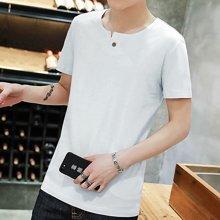 史克维斯夏季新款男士短袖T恤圆领纯色打底衫夏天男式半袖t恤大码男装衣服SLT1504
