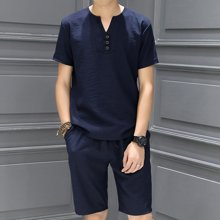 史克维斯休闲套装亚麻男士春夏季薄款V领棉麻短袖T恤 青年修身体恤男 潮TZ886LFC