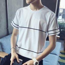 史克维斯夏季修身男士短袖t恤 白色打底衫男装圆领体恤潮流半袖衣服T613