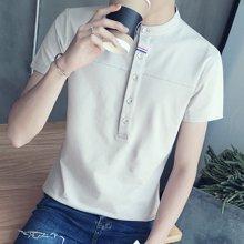 史克维斯夏季纯棉短袖t恤男士时尚立领纯色体恤青年男士短袖T恤T602TC