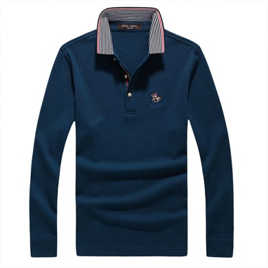 迪仕尼奴新款長袖t恤中年針織衫男商務翻領寬松父親裝上衣8631A
