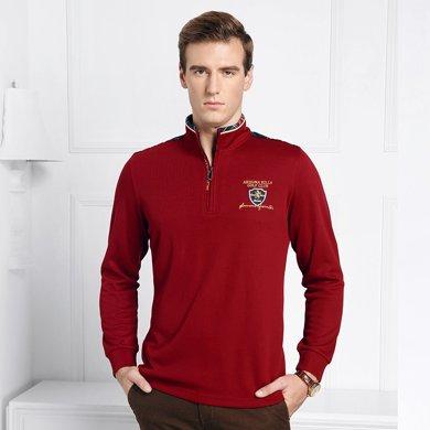 迪仕尼奴秋冬长袖T恤衫男士青年商务休闲修身保暖男装立领上衣8634A