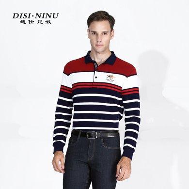 迪仕尼奴 秋裝新款中年長袖條紋t恤衫男裝中老年0079