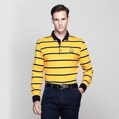 迪仕尼奴 秋裝新款中年全棉長袖商務polo衫條紋T恤爸爸裝0080