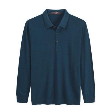 迪仕尼奴秋冬新品男士针织衫纯羊毛翻领T恤保暖弹力纯色打底衫718A