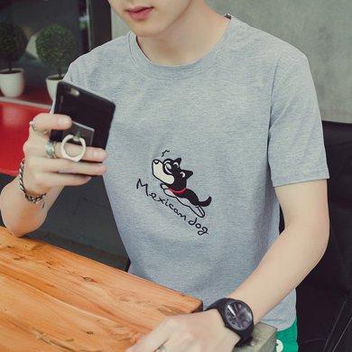 史克維斯2018早春新款半袖體恤男 韓版潮流短袖男T恤修身體恤男裝夏季上衣T72JC