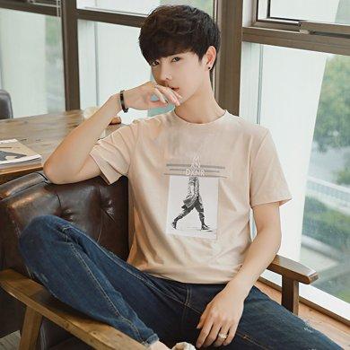 史克維斯2018夏季韓版潮流短袖T恤男 男裝半袖圓領體恤打底衫修身白色衣服TC28JC