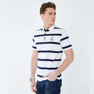 迪仕尼奴夏季新款男士短袖t恤条纹冰丝薄款中年商务宽松保罗衫0093