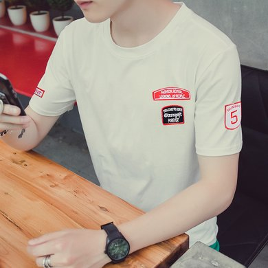 史克維斯短袖t恤男2018夏季新款男士體恤半袖衣服圓領修身潮T77JC