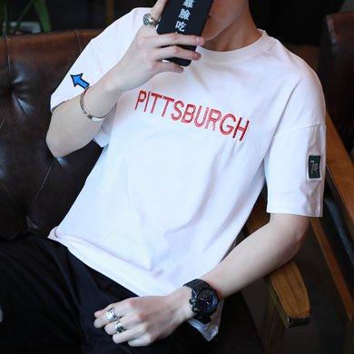 史克維斯男士短袖t恤韓版純棉修身圓領印花半袖夏季男裝純色體恤潮流衣服T22JC