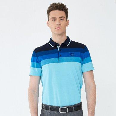 迪仕尼奴 春夏新款中青年男士修身条纹渐变蓝短袖t恤宽松翻领0094