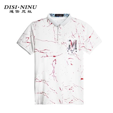 迪仕尼奴夏季薄款短袖T恤男碎花韓版翻領修身上衣0076