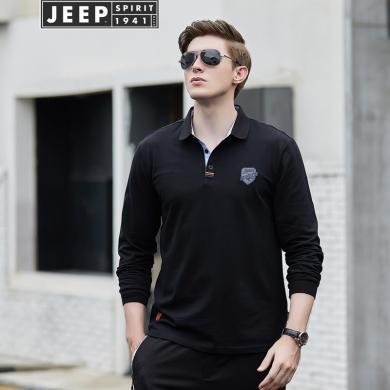 吉普jeep 新款T恤男加厚翻領純色長袖T恤男翻領純色POLO衫潮 709001Q