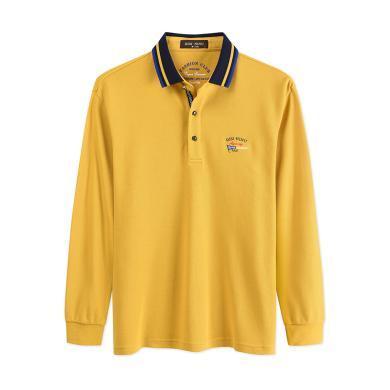 迪仕尼奴早秋新品男士長袖T恤純色翻領POLO黃色寬松商務打底衫8707A