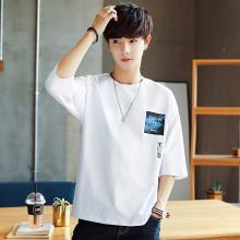 五分袖T恤短袖男韩版潮流学生港风宽松个性5分上衣服男装2019新款GT-T076