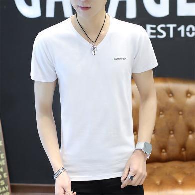 搭歌夏季新款男式短袖t恤字母个性潮流男装短袖t恤棉打底衫LQ629