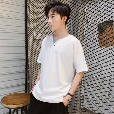 史克維斯短袖T恤男士簡約夏季純棉休閑T恤男青年時尚純色半袖上衣T1910jqn