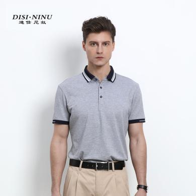迪仕尼奴春夏新款T恤短袖男夏季薄款翻领纯色冰丝保罗衫爸爸装0124