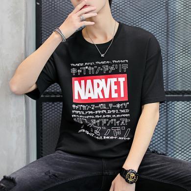 短袖上衣男士短袖上衣新款體恤圓領韓版套頭短袖上衣五分袖半袖夏天短袖上衣日系男衣服男上衣套頭ZL-Z903