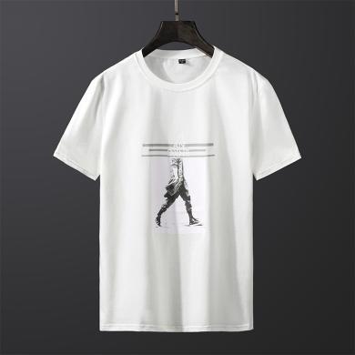 史克維斯短袖t恤男士夏季新款韓版修身半袖印花上衣潮款打底衫Tc28jc