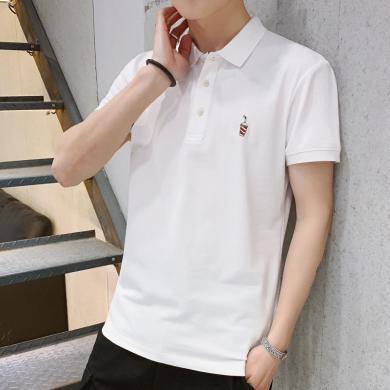 史克維斯短袖t恤男士Polo衫翻領夏季新款潮流休閑刺繡半袖男T衣服T023yt