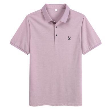 迪仕尼奴夏季新品男士短袖T恤翻领纯色薄款商务休闲百搭半袖衫8877A